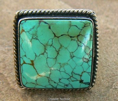 Old Navajo RING Sterling Silver Spiderweb Turquoise Signed/Etched