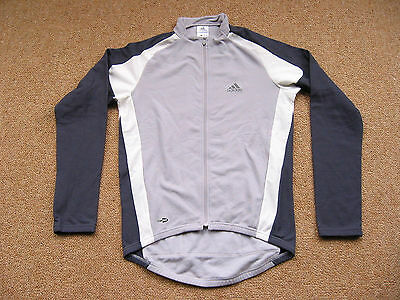 Adidas Long-Sleeve Cycling Jersey Fleece Lined Grey Blue Size M Road or MTB