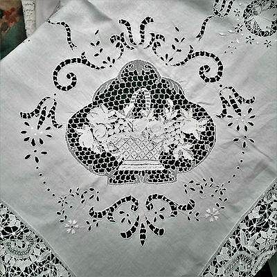 "Hand Embroidered Exquisite White Decorative Wedding Table Cloth 116"" X 104"""