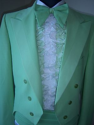 Vintage Mint Green Tail Tuxedo pack -70's style Tail coat, cumb, bowtie & ruffle