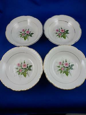 """4-SAUCE-BERRY BOWLS-American Limoges China """"CATHY R2 ~ Pink Roses~22K Gold Trim"""