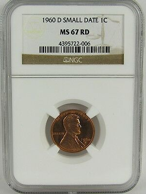 1960-D Small Date Lincoln Cent Ngc Ms67Rd