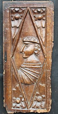 VERY GOOD 16TH CENTURY GOTHIC ROMAYNE LIKE CARVED OAK PANEL Medieval carving
