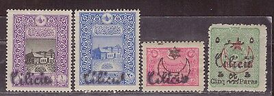 1919 French colony stamps, Cilicia Turkey, handstamped 1c to 5c MH