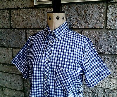 New old stock Vintage 1980s ladies blue white check shirt mod skinhead UK 14 12