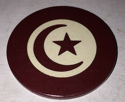 Crescent  Moon Star Poker Chip red and white