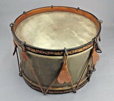 "Antique Rope Tension Metal Snare Drum 14"" Painted Rims"