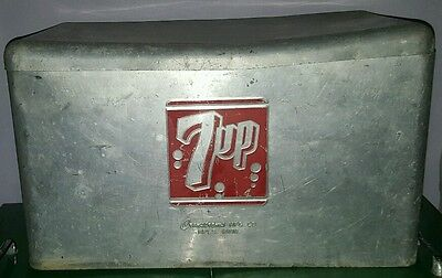 Vintage Cronstroms 7Up Soda Aluminum Beverage Cooler  Ice Cooler