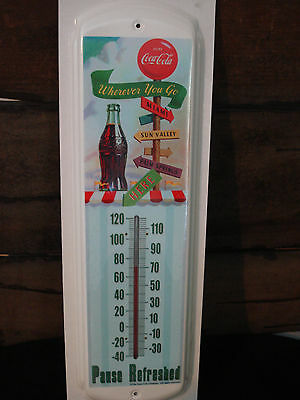 USA METAL COCA COLA COKE THERMOMETER garage shop green brown red bottle sign