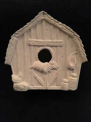 Paint Your Own Ceramic Bisque / Pottery - Farmyard Birdhouse