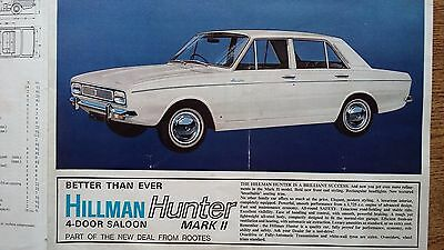 Hillman Hunter MK II Original UK Car Sales Brochure