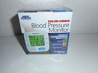 WrisTech Blood Pressure Monitor with Adjustable Wrist Cuff and Color Changing LC