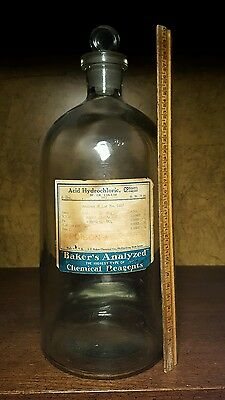 RARE antique pharmacy 12+ in. chemical apothecary display bottle