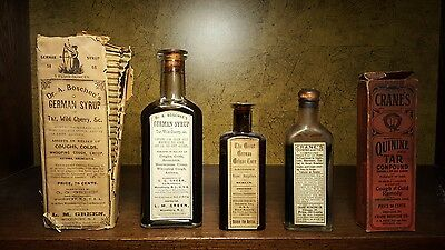 Lot of 3 VERY RARE antique pharmacy bottles with 2 boxes Boschee German pre-WWII