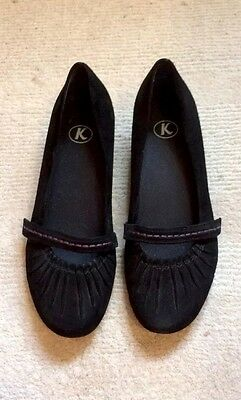 K By Clarks Ladies Black Suede Shoes Size 5