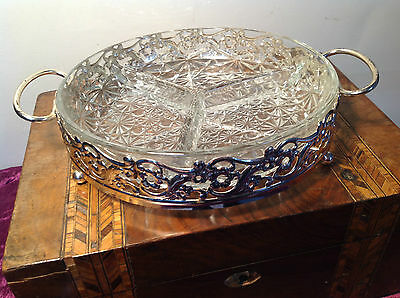 Retro Starter Snack Dish Silver Plate & Glass Dinner Party Buffet Platter