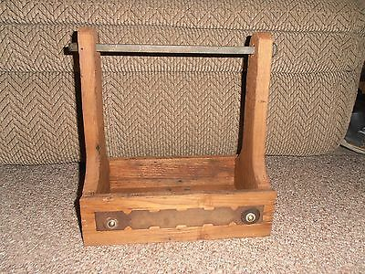 Antique  Wormy Chestnut Wood  Farm Kitchen  Tool Box   Carrier  Tote