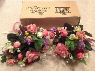 2 NEW Home Interiors HOMCO Multi-color Floral Bouquets Greenery BEAUTIFUL Decor