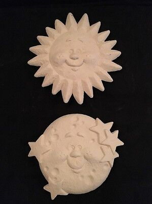 Paint Your Own Ceramic Bisque / Pottery - Sunshine And Moon Plaques