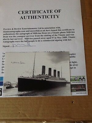 Millvina Dean (Last surviving passenger from the Titanic) signed photo with COA