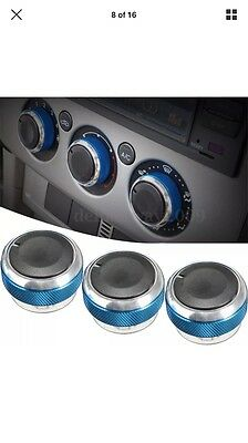 SmartStyle L.BLUE Aluminium Heater Knobs Buttons for Ford Focus/C-Max/S-Max/ST
