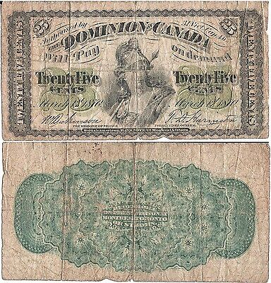 DOMINION OF CANADA 25 Cents (1.3.1870) Pick 8a, VG-Fine *XRARE*