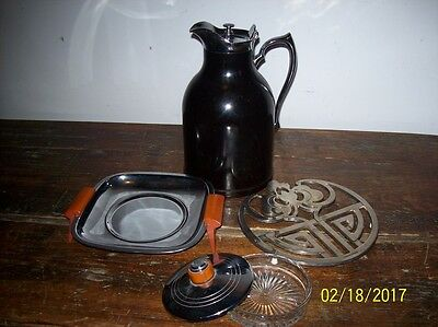Beautiful Large Thermos Vintage STRONGLAS Pitcher  Bakelite with Trivet and Tray