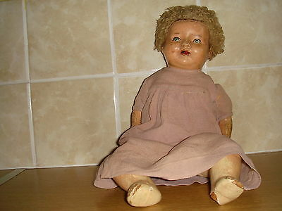 Vintage Composition Doll Cloth (And Horsehair?)  Body