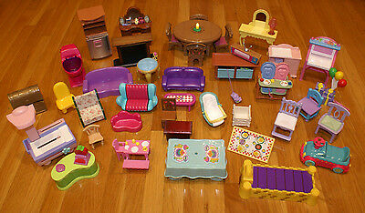 Mixed Lot of 40 Fisher Price Loving Family Mattel, etc. Doll Furniture Pieces