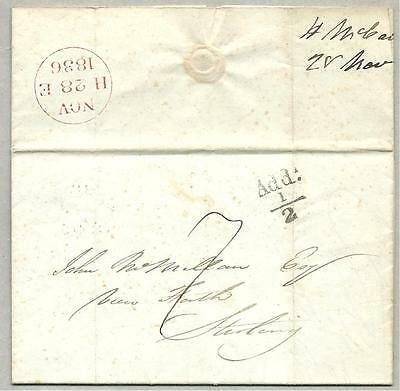 1836 pre stamp entire to Stirling with ADDL half + trasit mark.