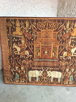 BEAUTIFUL ANTIQUE 19th C CAMBODIA KHMER IKAT SACRED TEMPLE BANNER MOUNTED PIDAN