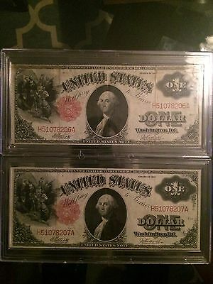 US currency 1917 One Dollar Bills large size with consecutive serial numbers