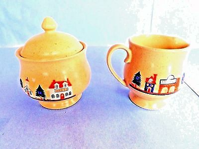 """creamer & Sugar Bowl Set"" Hand Painted Figures, Porcelain,japan, By Price,nice!"