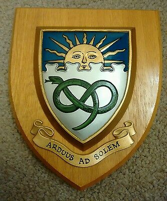 Old Heraldic Manchester University College School Crest Shield Plaque