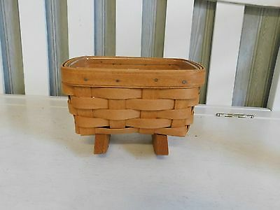 Longaberger Mini Cradle Basket With Protector Perfect Condition Classic Stain