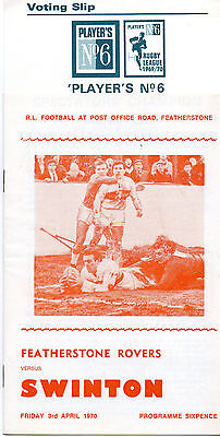 Featherstone Rovers v Swinton 1970 incl No 6 Voting Slip