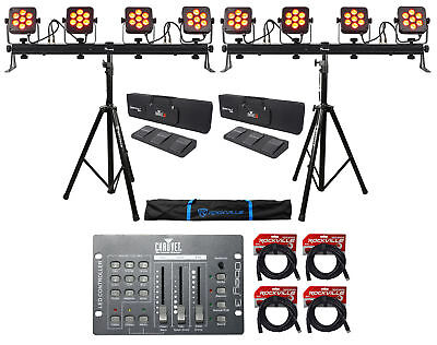 (2) Chauvet DJ 4Bar Flex T USB Light Bars+Stands+Cases+Foot Switches+Controller