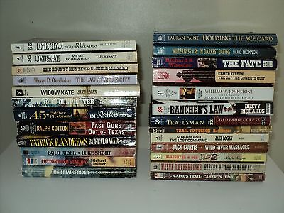 Bulk Lot Of 25 Western Paperback Books By Assorted Authors Fiction