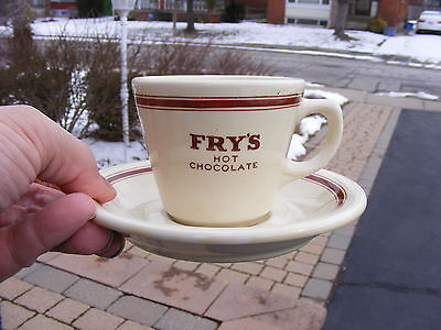 Old Vintage Fry's Hot Chocolate Cup And Saucer Duraline Grindley Hotelware Nice