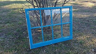 VINTAGE SASH ANTIQUE WOOD WINDOW UNIQUE FRAME PINTEREST RUSTIC 8 PANE 36x28 BLUE