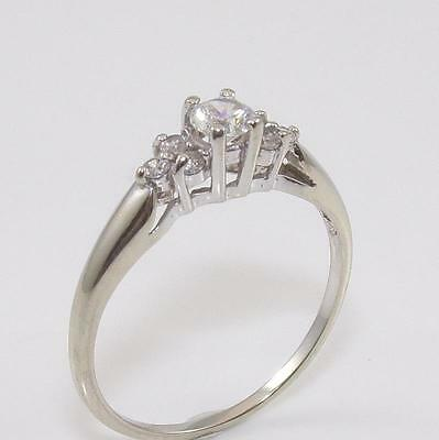 10K White Gold Clear CZ Wedding Engagement Ring Size 8.25
