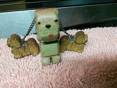 VINTAGE MINIATURE HAND CARVED WOOD DOG w/2 PUPS .... very Old