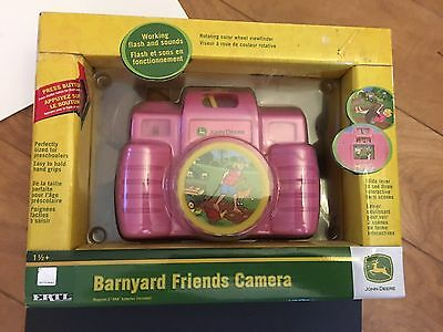Childs Toy Camera John Deere New Sealed Pink Farm Animals Pictures Flash Sound