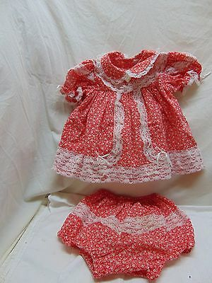 Baby Girls' Size 18 Months Red Flower Print w/ Lace Dress/Panties by Small Steps