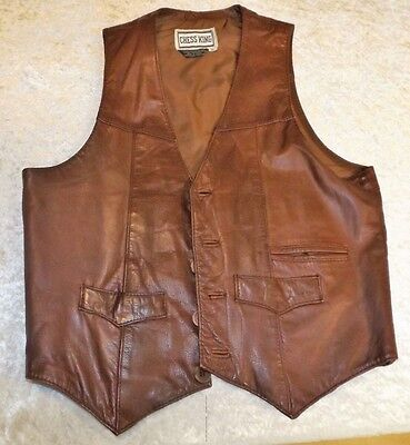 Vintage Chess King  Mens Leather Vest - Lined -  Button Front - Large