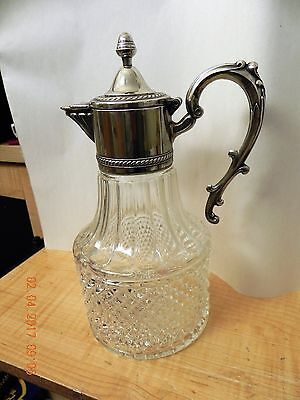 Silver Plated Diamond Cut  Crystal Decanter -Italy