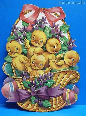 Vintage Easter Basket Full of Chicks Eggs Flowers Bows Die Cut Out Decoration