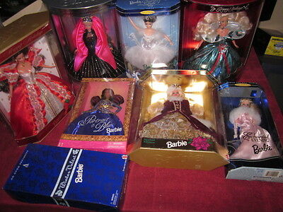 LOT of 8 Special Edition Happy Holidays Barbie IN BOXES! 14992, 19356, AND MORE!