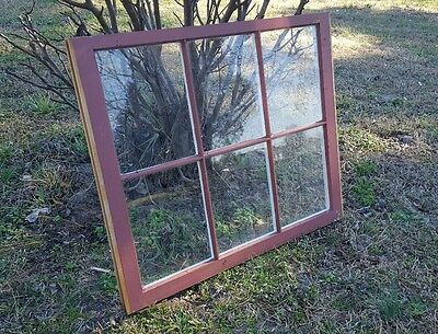 VINTAGE SASH ANTIQUE WOOD WINDOW FRAME PINTEREST RUSTIC 32x27 FARM HOUSE RED