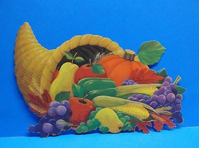 Vintage Cornucopia Fruit Vegetables Fall Thanksgiving Die Cut Out Decoration
